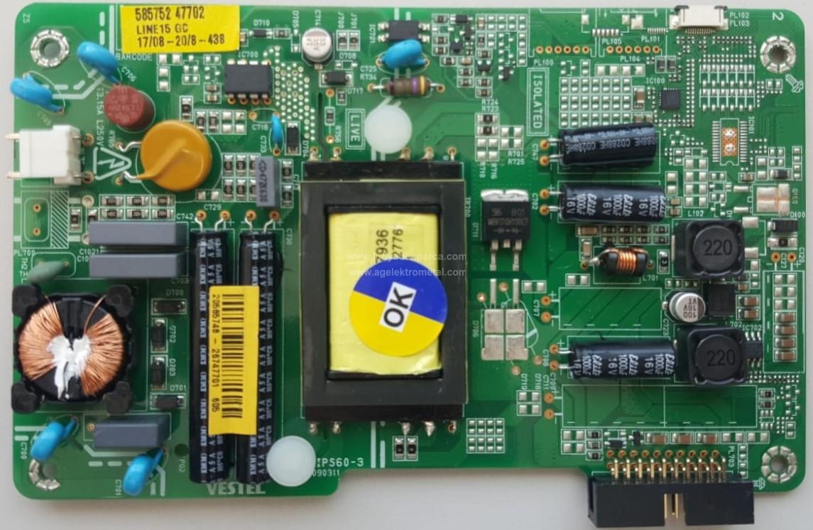 17IPS60-3 , 20585748 , VESTEL , Power Board , Besleme Kartı , PSU